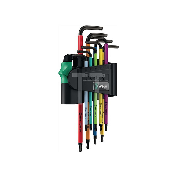 Winkelschraubendrehersatz 9 tlg. TX mit Bohrung farbmarkiert 967 SPKL/9 TORX BO