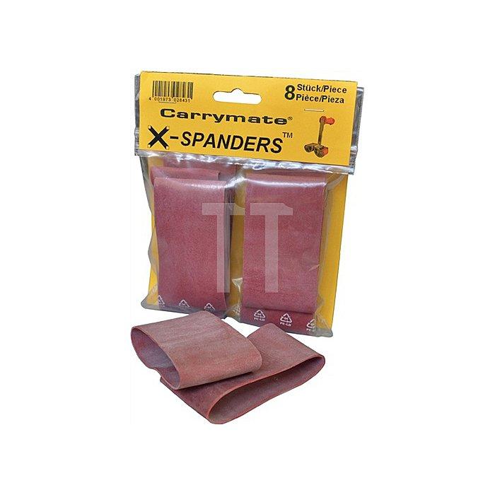 X-Spanderringe über die Klemmbacke ziehen oder kleben