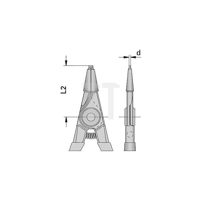 Zange gerade 85-140mm f.Außensicherungsringe