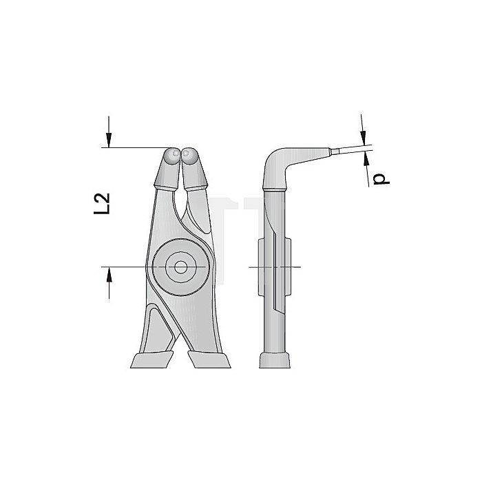 Zange gewinkelt 85-140mm m.Griffschutz f.Innensicherungsringe Chrom