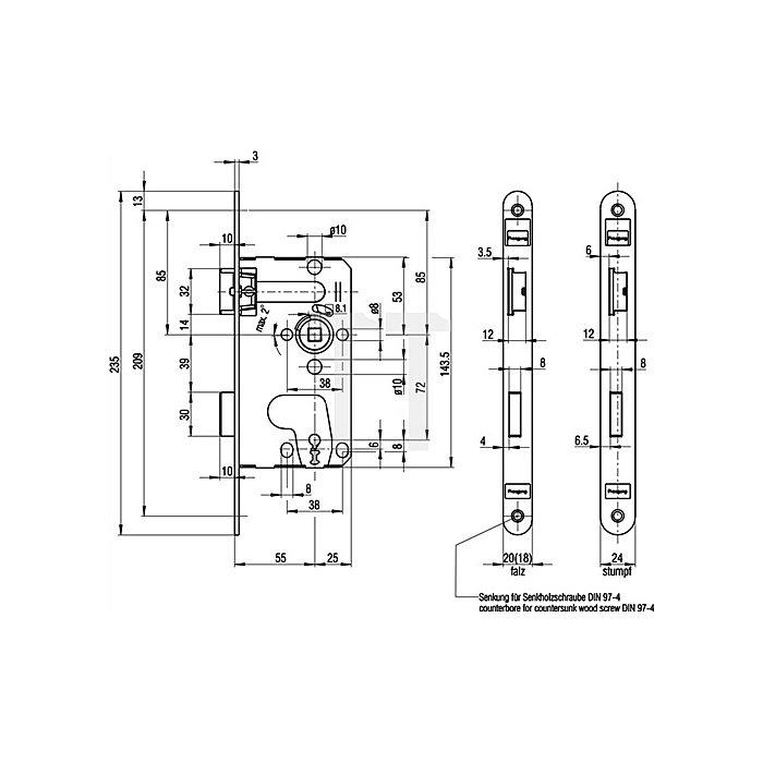 Zimmertür-Einsteckschloss DIN18251 0215 Kl.1 BB DIN re.Dorn 55mm Entf.72mm rd.