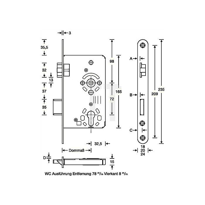 Zimmertür-Einsteckschloss nach DIN 18251-1 Kl. 3 Bad DIN re. Dorn 65mm Entf. 78