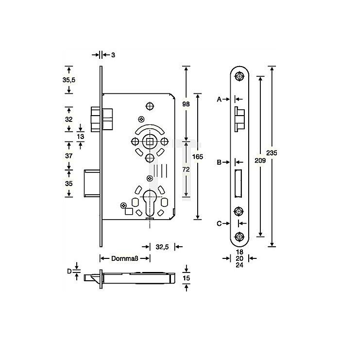 Zimmertür-Einsteckschloss nach DIN 18251-1 Kl. 3 PZW DIN li. Dorn 65mm Entf. 72