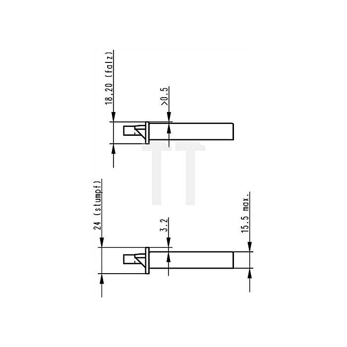 Zimmertür-Einsteckschloss nach DIN18251 0415 Kl.2 PZ DIN li.Dorn 55mm
