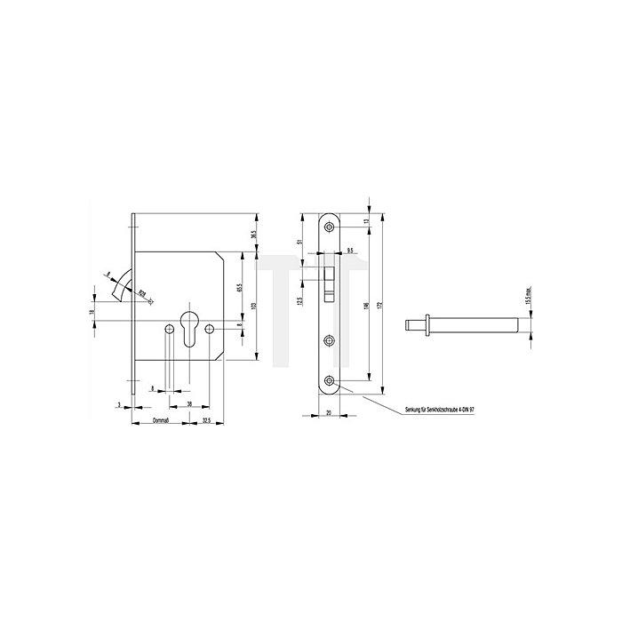Zirkelriegelschloss 0371/0372 PZ Dorn 55mm Stulp 20mm abgerundet VA