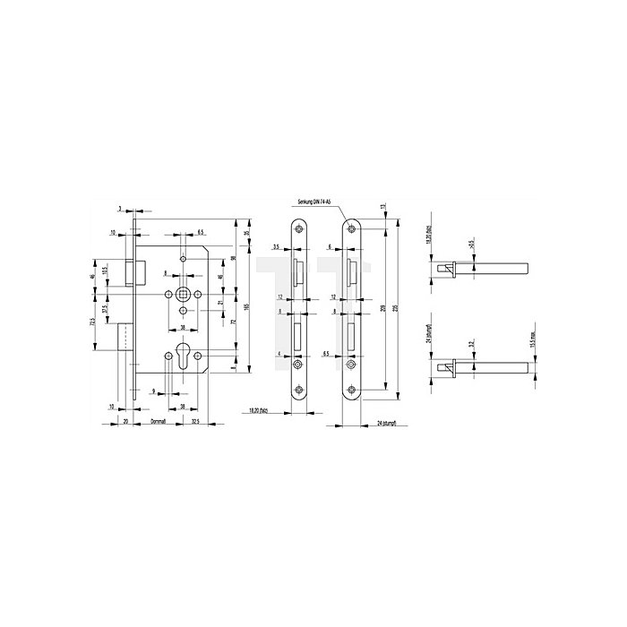 ZT-Einsteckschl. BKS0515 DIN 18251 Kl.3 DIN re.Dorn 60mm PZ Entf.72mm silber