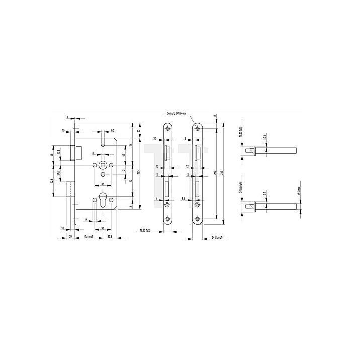 ZT Einsteckschloss 0515 Kl. 3 DIN re.Dorn 65mm PZ Entf.72mm Stulp 24mm Alufinish
