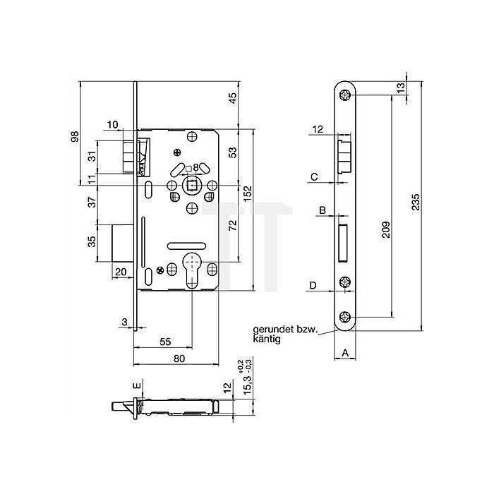 ZT-Einsteckschloss nach DIN 18251-1 Kl.2 PZ DIN re.Dorn 55mm Entf.72mm abgr.