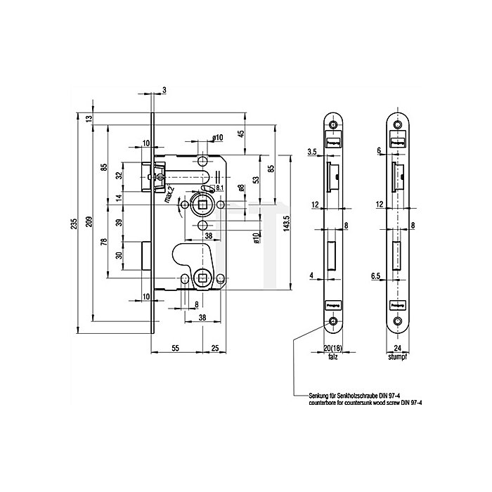 ZT-Einsteckschloss nach DIN18251 0215 Kl.1 Bad DIN R Dorn 55mm Entf.78mm