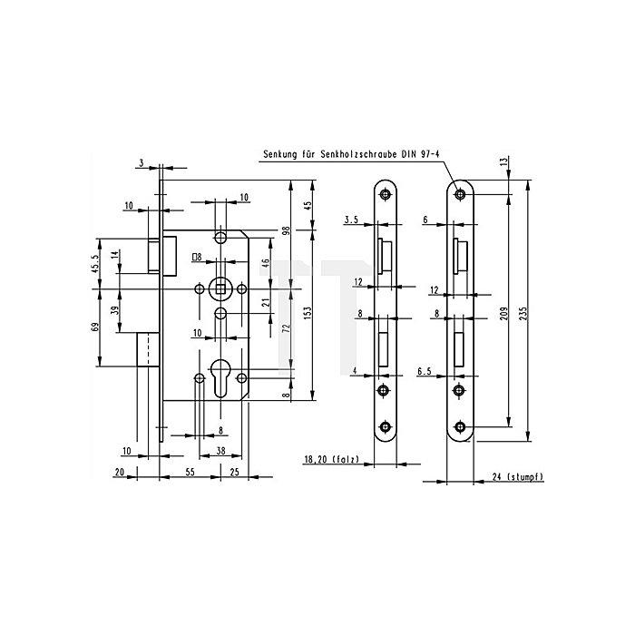 ZT-Einsteckschloss nach DIN18251 0415 Kl.2 PZ DIN Dorn 55mm Entf.72mm silber