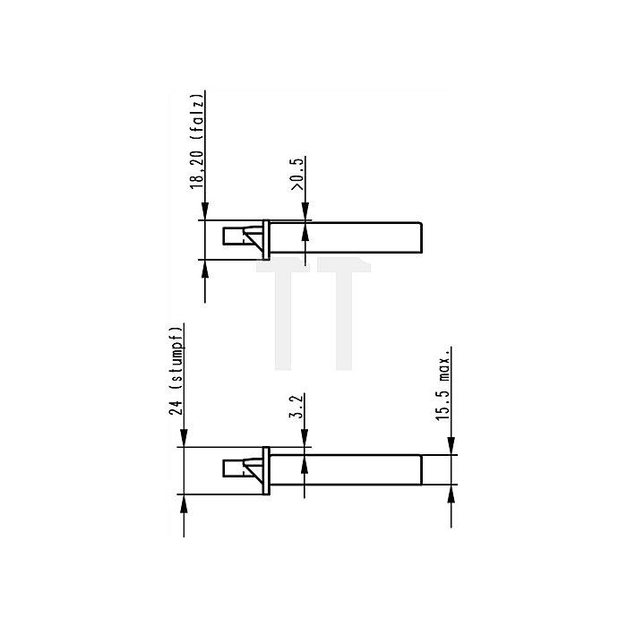 ZT-Einsteckschloss nach DIN18251 0415 Kl.2 PZ Dorn 55mm Entf.72mm ktg. V2A