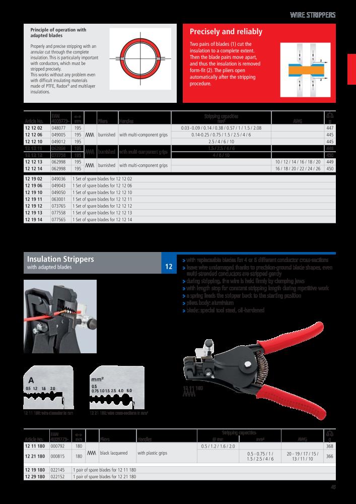 KNIPEX 12 21 180 Abisolierzange mit Formmessern schwarz lackiert mit Kunststoff-Griffh/üllen 180 mm