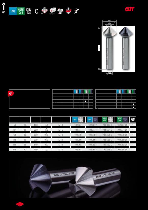 Ruko ULTIMATECUT Dreischneider HSSE 90°, C, 15,0mm,3-fl Schaft 102778E