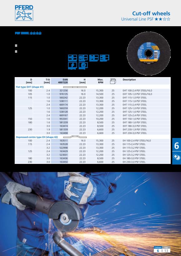 PFERD Trennscheibe EHT 125-0,8 SGP STEELOX 61341094