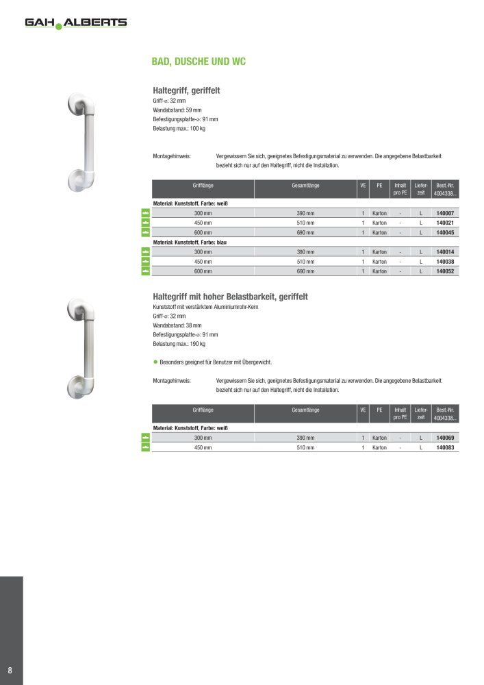 GAH-Alberts 140021 Haltegriff geriffelt 450 mm Kunststoff wei/ß