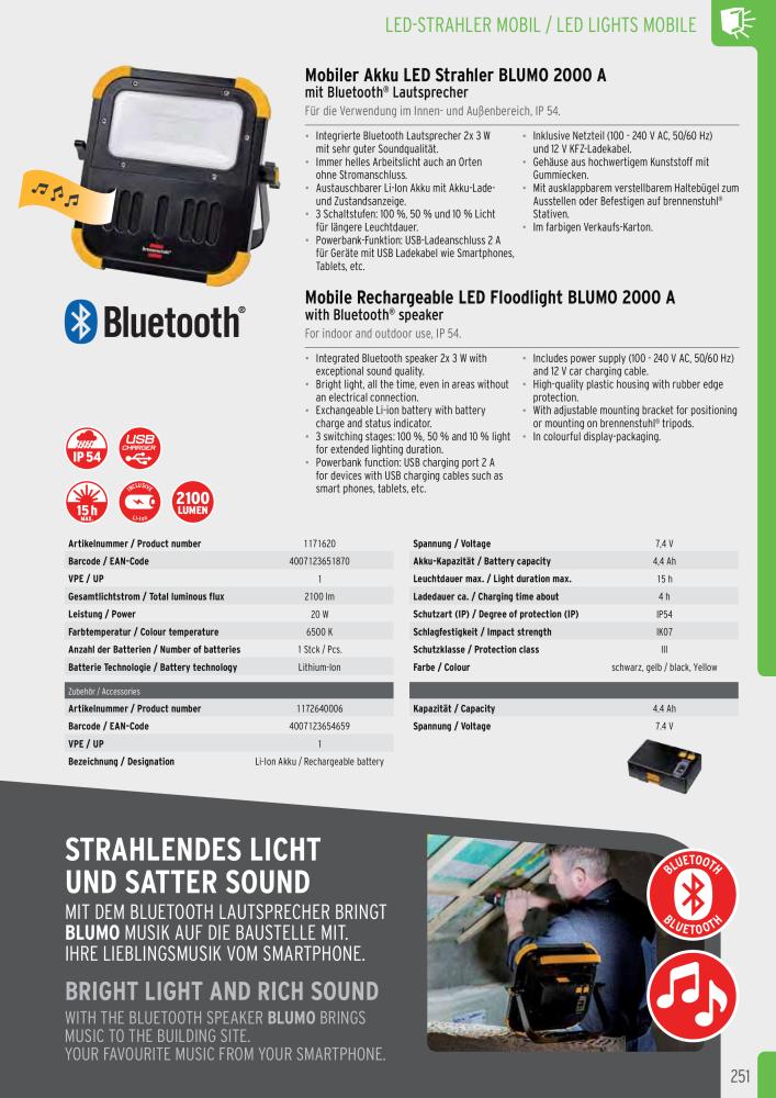 Negro Brennenstuhl 1172640006/bater/ía para 1171620