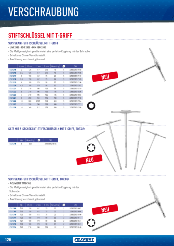 Expert METALL-T-GRIFF-INNENSECHSKANTSCHLÜSSEL 2,5 E121216