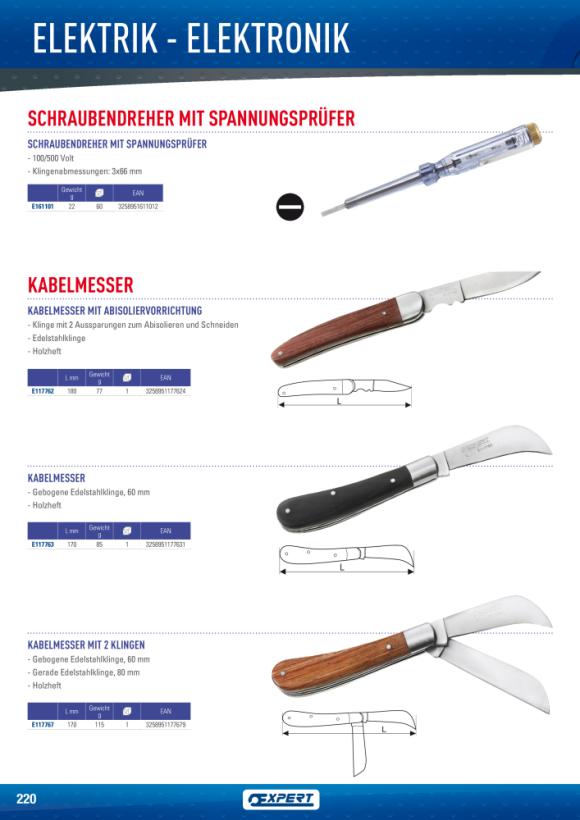 Expert ELEC.KNIFE DRAHTABISOLIERER HOLZGRIFF E117762