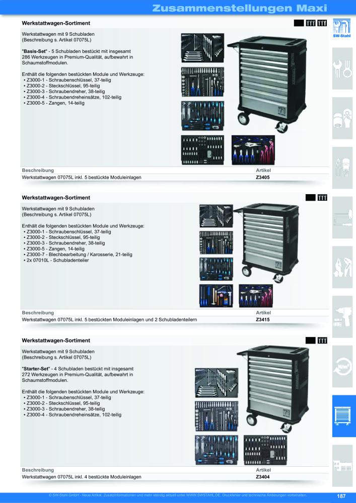 SW-Stahl Z3000-21 Werkstattwagen-sortiment Schraubenschl/üssel