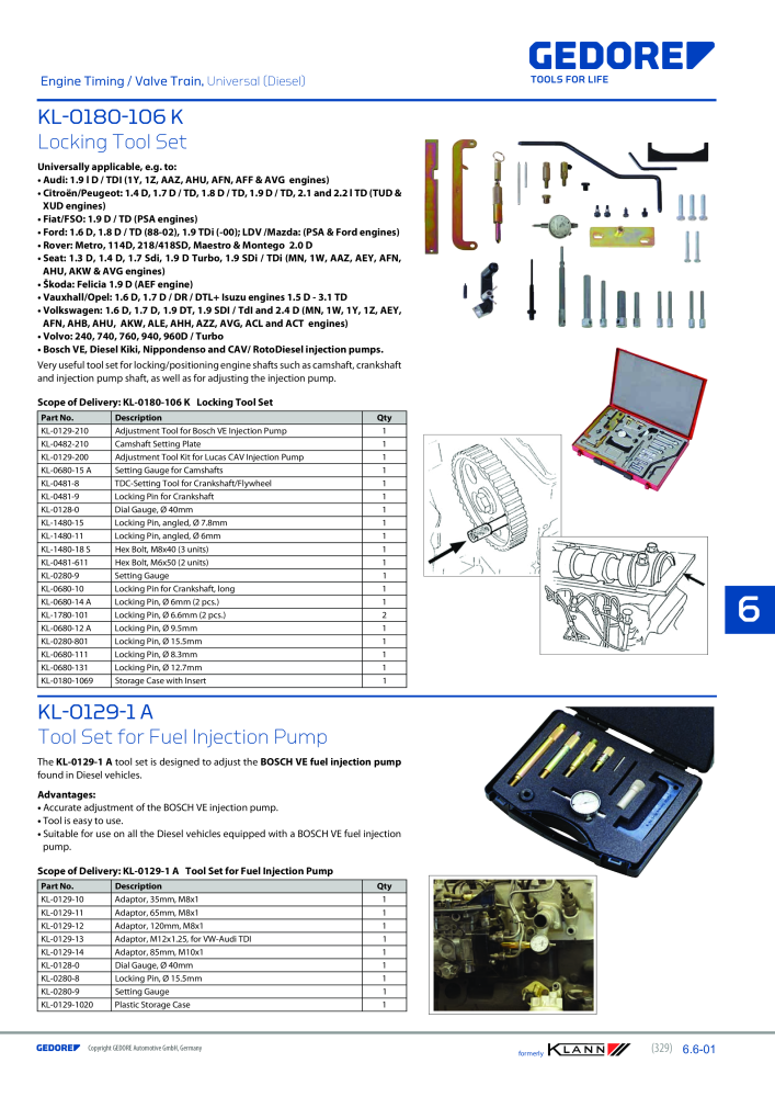 KLANN by Gedore Main catalog Special tools - Page 329