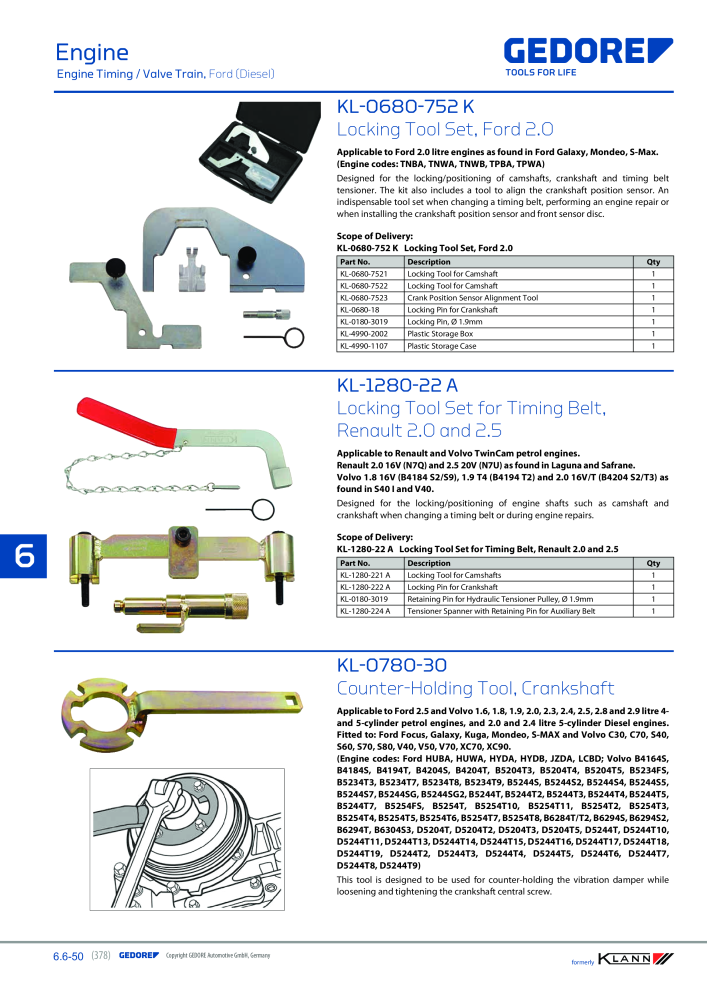ec60f454 KLANN by Gedore Main catalog Special tools - Page 378