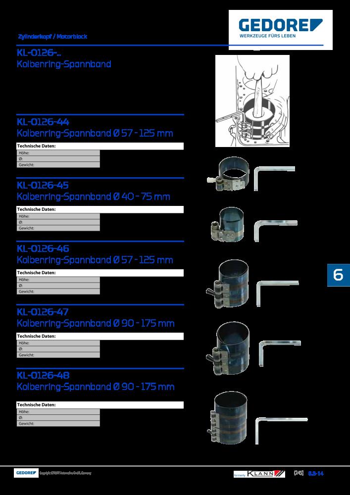 d 90-175 mm Gedore Kolbenring-Spannband 80 mm