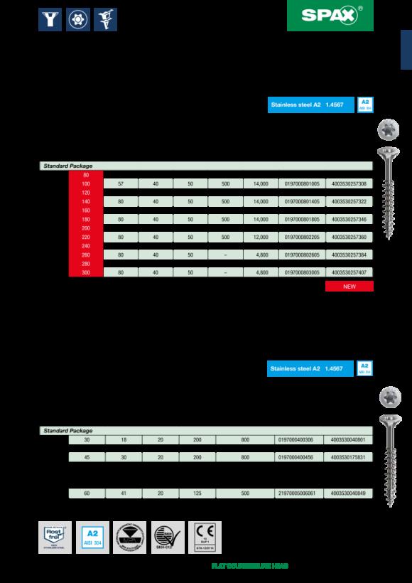 SPAX Edelstahlschraube, 8 x 140 mm, 50 Stück, Teilgewinde, Senkkopf, T-STAR plus T40, 4CUT, Edelstahl rostfrei A2 0197000801405