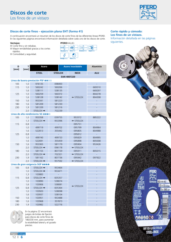 PFERD Discos de corte EHT 115-1,0 SG STEELOX 61340412