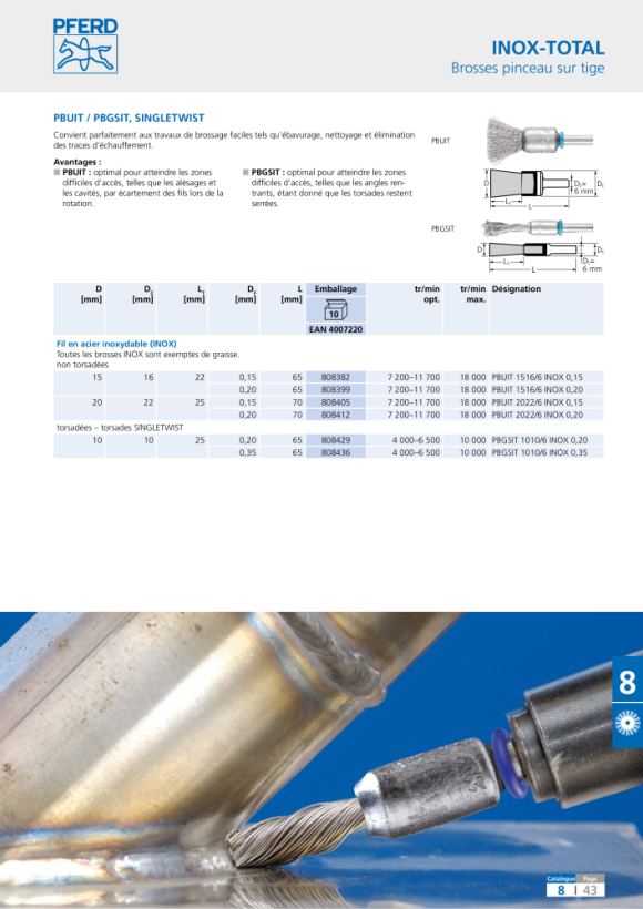 PFERD Brosses INOX-TOTAL PBUIT 2020/6 INOX 0,20 43200037