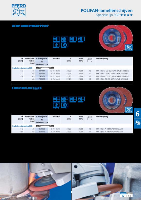PFERD POLIFAN-lamellenslijpschijf PFR 150-M Z 40 SGP CURVE STEELOX 67689072