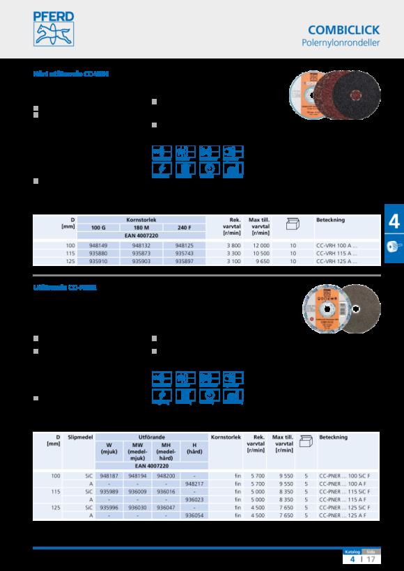 PFERD COMBICLICK polernylonrondeller CC-PNER MW 125 SiC F 42002096