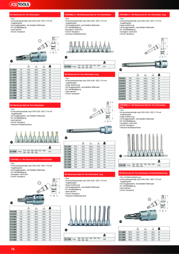 """KS Tools 3/8"""" Bit-Stecknuss TX, lang, T25, auf Hänger 911.1552-E"""