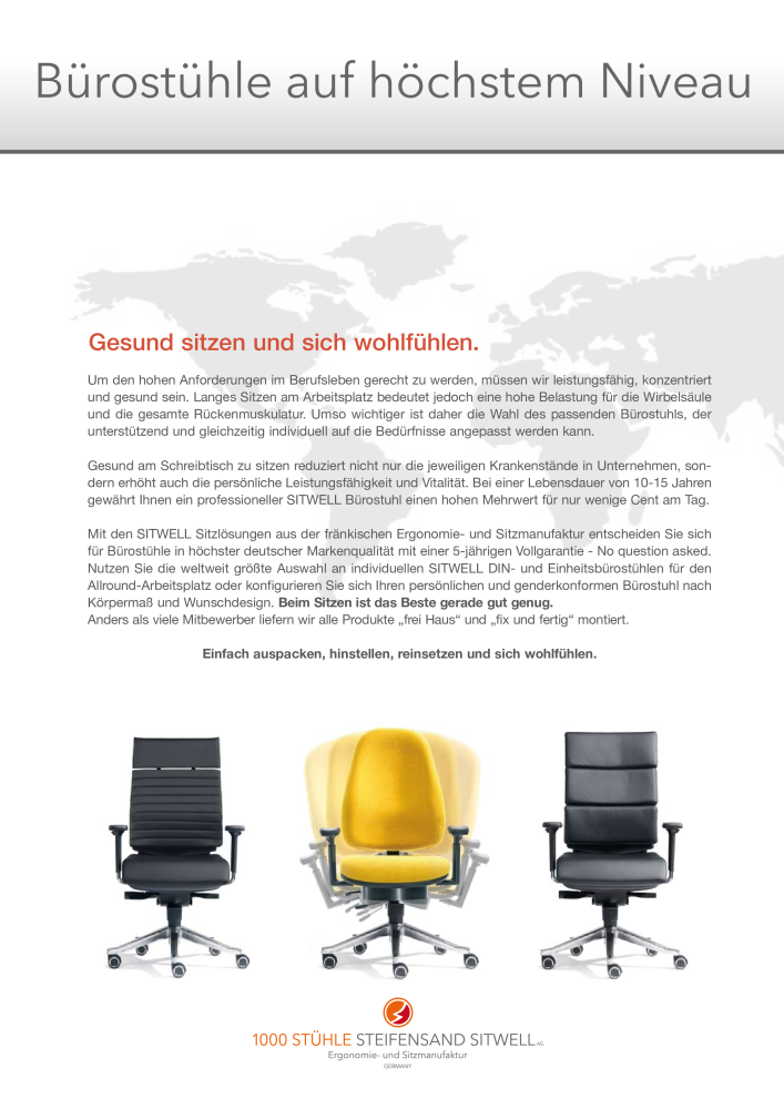 1000 Stühle Katalog Steifensand Sitwell Bürostühle Wellnessstühle