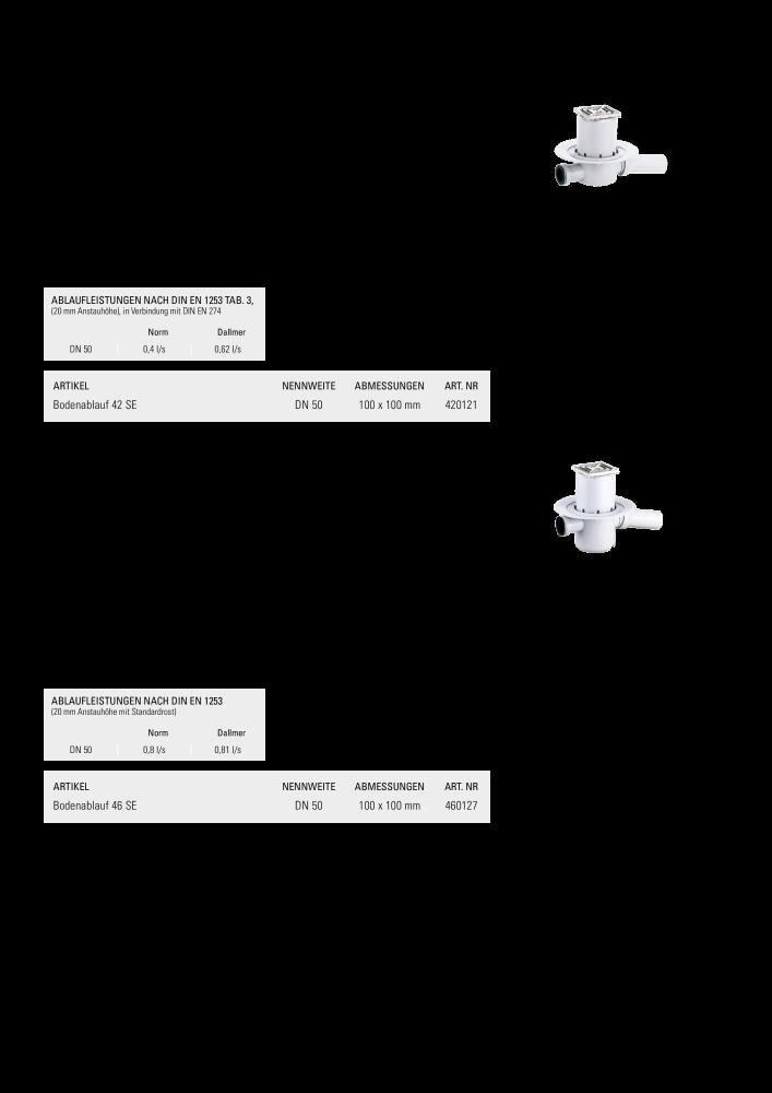 Dallmer Bodenablauf 42SE Zulauf DN40 Ablaufstutzen DN50 100 x 100 mm 420121