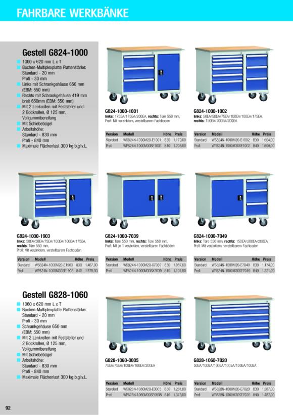 KLW Profi-Werkbank - 1060 x 620 x 840 mm L x T x H, ohne Rückbrett WP828N-1060M30SE0005