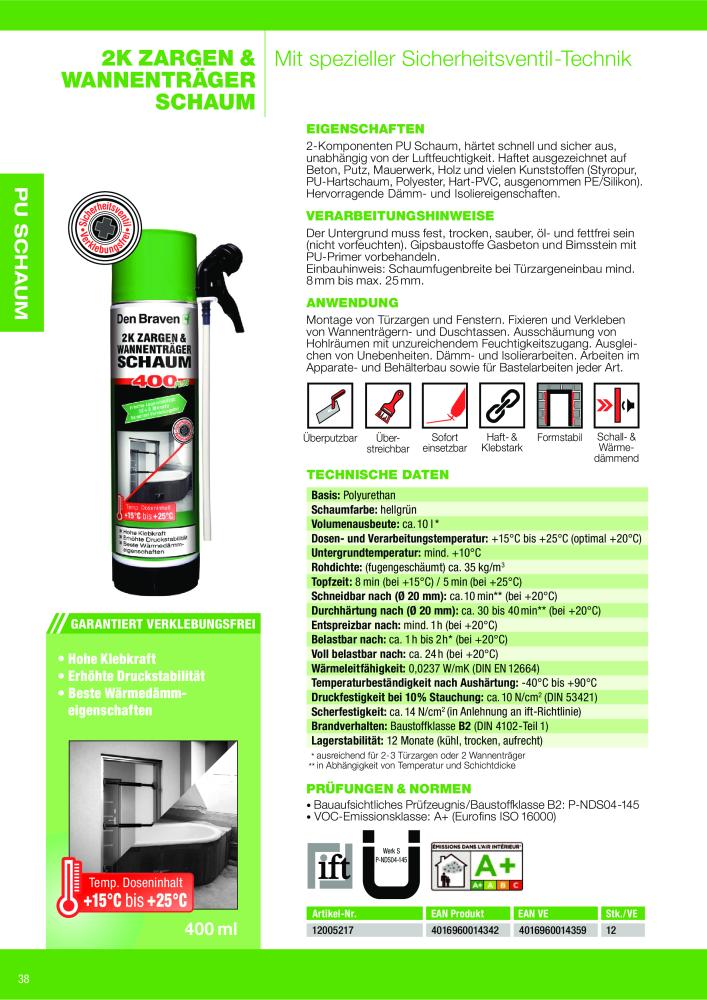 Den Braven Katalog Chemieprodukte Acryl Silikon Montagekleber Pu
